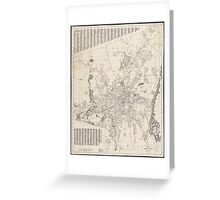 Vintage Map of Worcester Massachusetts (1919) Greeting Card