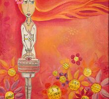 Brave Girl with Pink Handbag - Folk Art Girl with Red Orange Hair by erica lubee  ~ SkyBlueWithDaisies