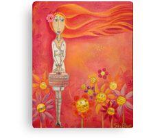 Brave Girl with Pink Handbag - Folk Art Girl with Red Orange Hair Canvas Print