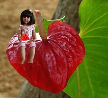ANTHURIUM- HAWAIIN HEART FLOWER--LITTLE GIRL & WATERMELON A SUMMERS DELIGHT - PICTURE / CARD by ✿✿ Bonita ✿✿ ђєℓℓσ