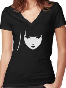 Emily the Strange: Emily's face Women's Fitted V-Neck T-Shirt