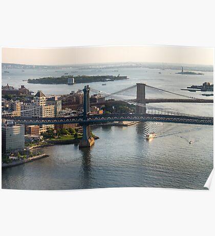 Aerial Manhattan and Brooklyn Bridges Poster