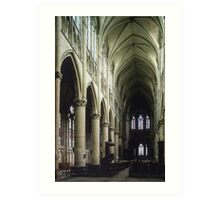 Pulpit and nave of Cathedral St Etienne Chalons sur Marne France 19840506 0043 Art Print