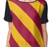 Los Angeles California Red & Gold Team Color Stripes Chiffon Top