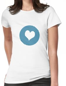Striped heart blue Womens Fitted T-Shirt