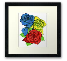 Red, Blue, and Yellow Roses Framed Print