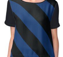 Hooset New Hampshire Black & Navy Team Color Stripes Chiffon Top