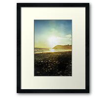 Sunset on a beach in New Zealand in Watercolor Framed Print