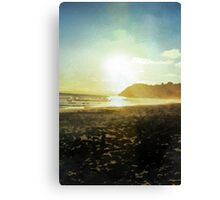 Sunset on a beach in New Zealand in Watercolor Canvas Print
