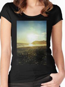 Sunset on a beach in New Zealand in Watercolor Women's Fitted Scoop T-Shirt