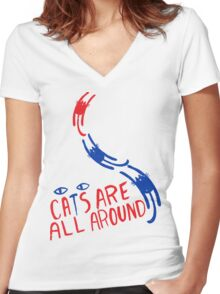 Cats Are All Around - Red And Blue Women's Fitted V-Neck T-Shirt