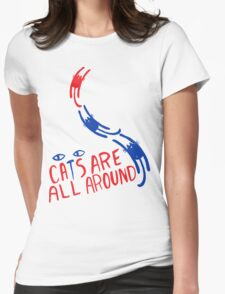 Cats Are All Around - Red And Blue Womens Fitted T-Shirt