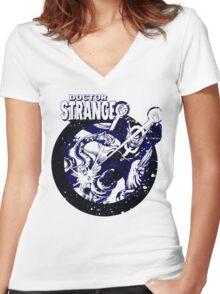 Doctor Strange •Blue & Black Women's Fitted V-Neck T-Shirt