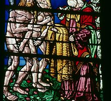 God providing Adam and Eve with skin clothing C16 glass Cathedral St Etienne Chalons sur Marne France 198405060049 by Fred Mitchell