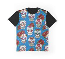 Sugar skulls on blue Graphic T-Shirt