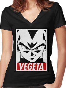Vegeta ssj blue Women's Fitted V-Neck T-Shirt