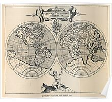 Vintage Map of The World (1598) Poster
