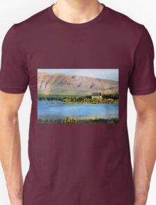 Lake Tekapo and Church of the Good Shepherd (New Zealand) in Watercolor Unisex T-Shirt