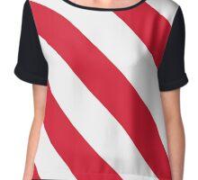 Lafayette Louisiana Red & White Team Color Stripes Chiffon Top