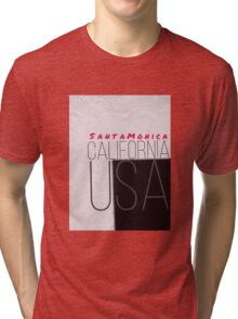 Santa Monica California USA pink Tri-blend T-Shirt