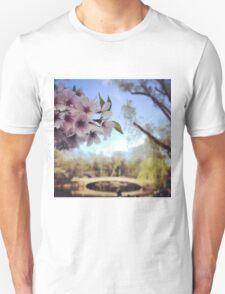 Cherry Blosoms near the bridge  Unisex T-Shirt