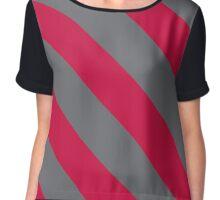 Albuquerque New Mexico Red & Grey Team Color Stripes Chiffon Top