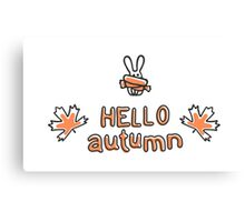 Hello autumn lettering and rabbit with scarf Canvas Print