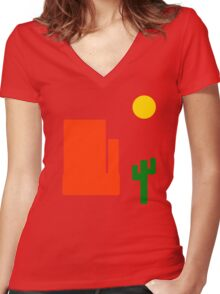 Take A Trip Out West Women's Fitted V-Neck T-Shirt