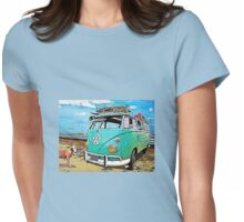 VW Surf Bus Strange Day at the Beach Womens Fitted T-Shirt