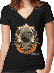 PEE WEE THE PUG TATTOO Women's Fitted V-Neck T-Shirt