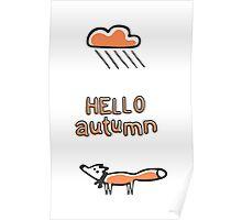 Fox under the rainy cloud Poster