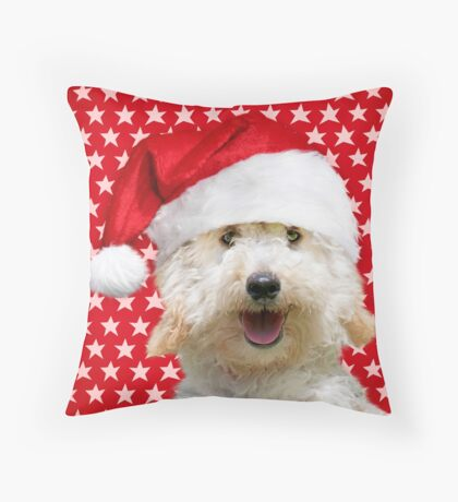 Poodle dog wearing a Christmas hat with star background  Throw Pillow