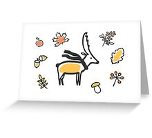 Deer with scarf and autumn illustrations Greeting Card