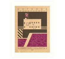 Allegheny River Lock & Dam No. 4 - 1927 (Purple) Art Print