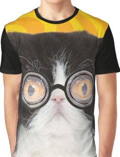 Black and White Persian Cat wearing glasses Graphic T-Shirt