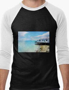 Beach house in Nelson (New Zealand) in Watercolor Men's Baseball ¾ T-Shirt