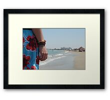 Close-up Of Hand - Facing The Beach Framed Print