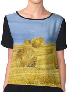 Beautiful yellow hill with haystacks at sunset, agricultural concept, France Chiffon Top