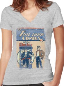 Time Lord Comics Women's Fitted V-Neck T-Shirt