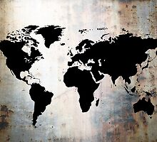 World Map Rusted Metal  by Roz Abellera Art