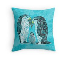 Swirly Pinguin Family Throw Pillow