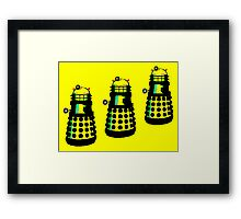YELLOW AND BLACK DALEK ATTACK Framed Print