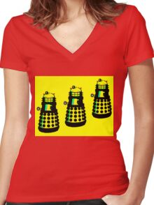 YELLOW AND BLACK DALEK ATTACK Women's Fitted V-Neck T-Shirt