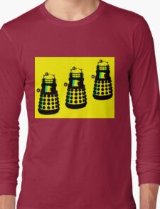 YELLOW AND BLACK DALEK ATTACK Long Sleeve T-Shirt