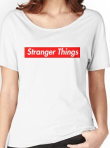 stranger things supreme logo Women's Relaxed Fit T-Shirt