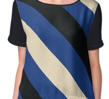 Wellesley Massachusetts Blue, Black & Cream Team Color Stripes Chiffon Top
