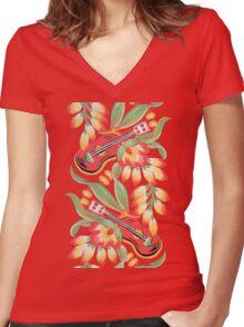 Ukulele Pattern (Black) Women's Fitted V-Neck T-Shirt
