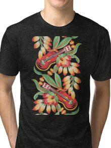 Ukulele Pattern (Black) Tri-blend T-Shirt