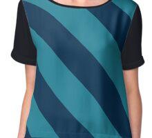 Salt Lake City Utah Navy & Blue Team Color Stripes Chiffon Top