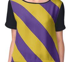 Macomb Illinois Purple & Gold Team Color Stripes Chiffon Top